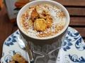 Przepis na Ice Mango Puffins caffe, czyli mrożoną kawę z mlekiem sojowym i chrupiącymi puffingowanymi owocami mango