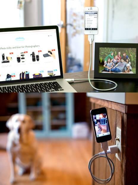 Kabel i statyw do telefonu w jednym